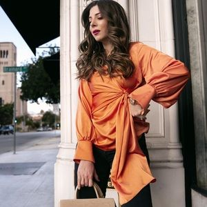 Coral orange satin tie blouse